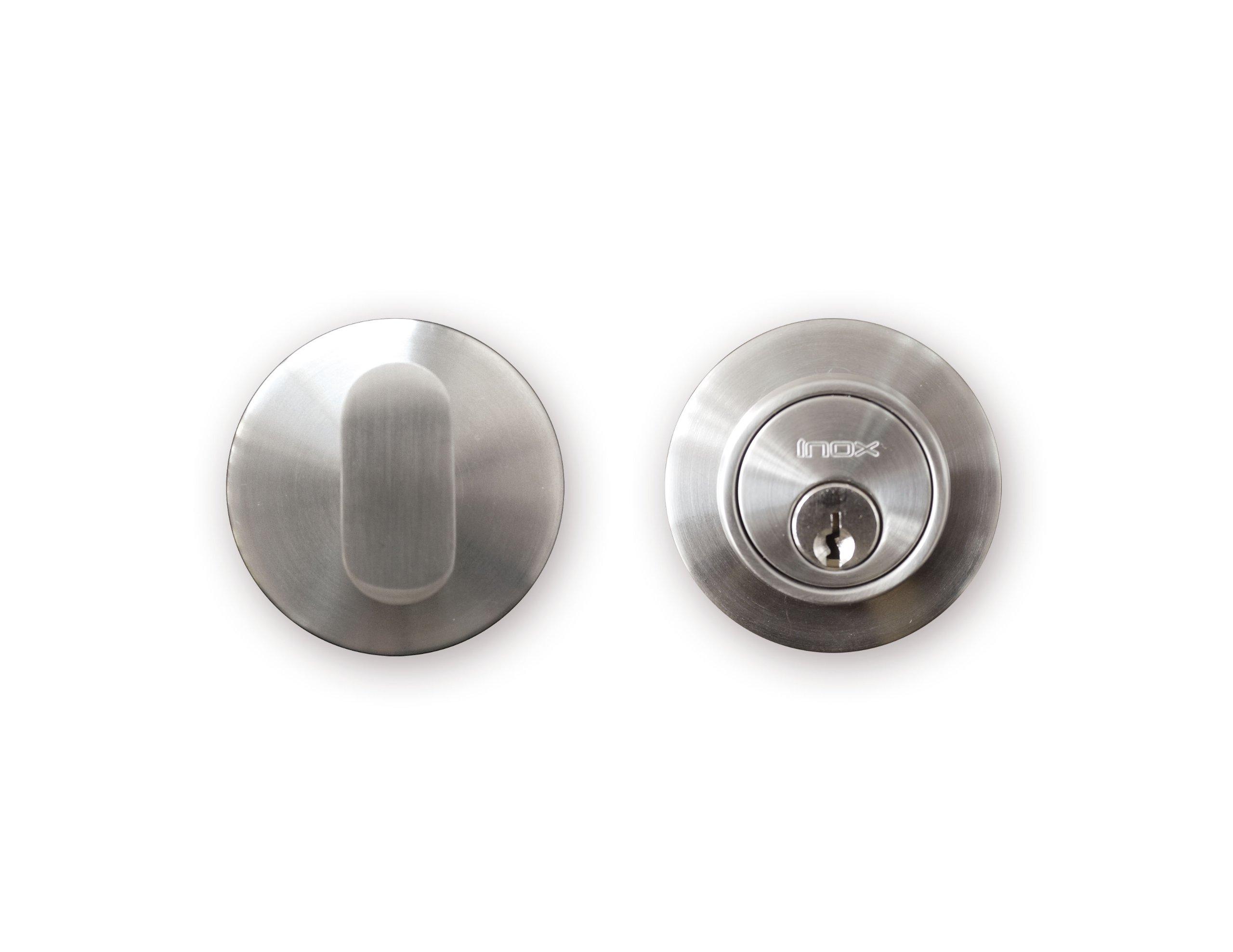 INOX CD110B6-32D Single Cylinder Deadbolt, 2-1/2'', Satin Stainless Steel