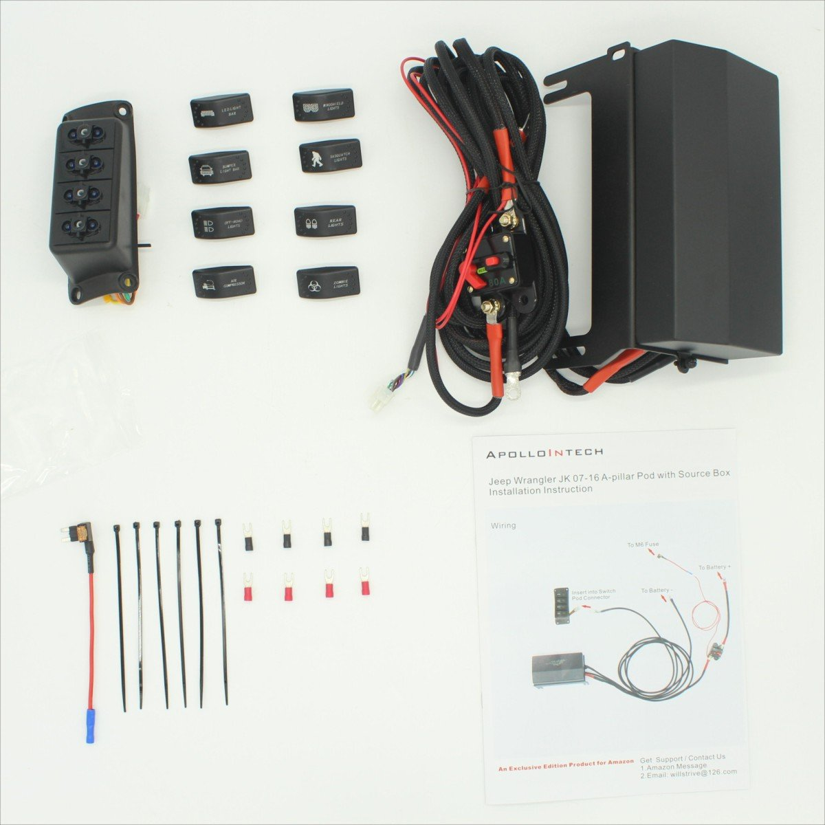 710AU4IOAwL._SL1200_ amazon com apollointech left side a pillar 4 switch pod panel Car Fuse Box Wiring at mifinder.co