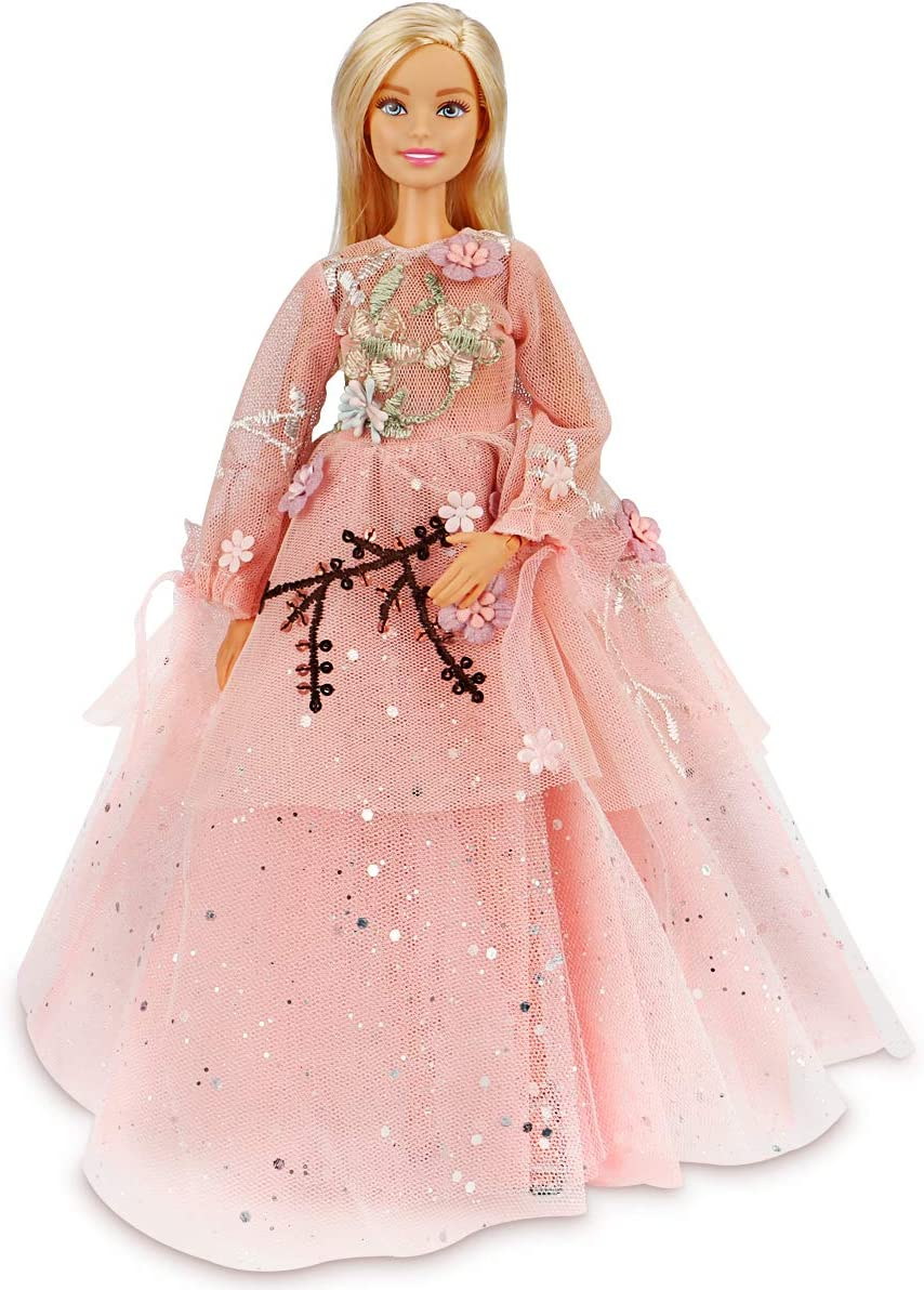 Pink Ball Gown with White and Gold Flowers Made to Fit Barbie Doll