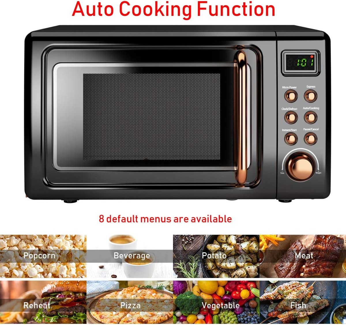 COSTWAY Retro Countertop Microwave Oven, 0.7Cu.ft, 700-Watt, Cold Rolled Steel Plate, 5 Micro Power, Delayed Start Function, with Glass Turntable & ...