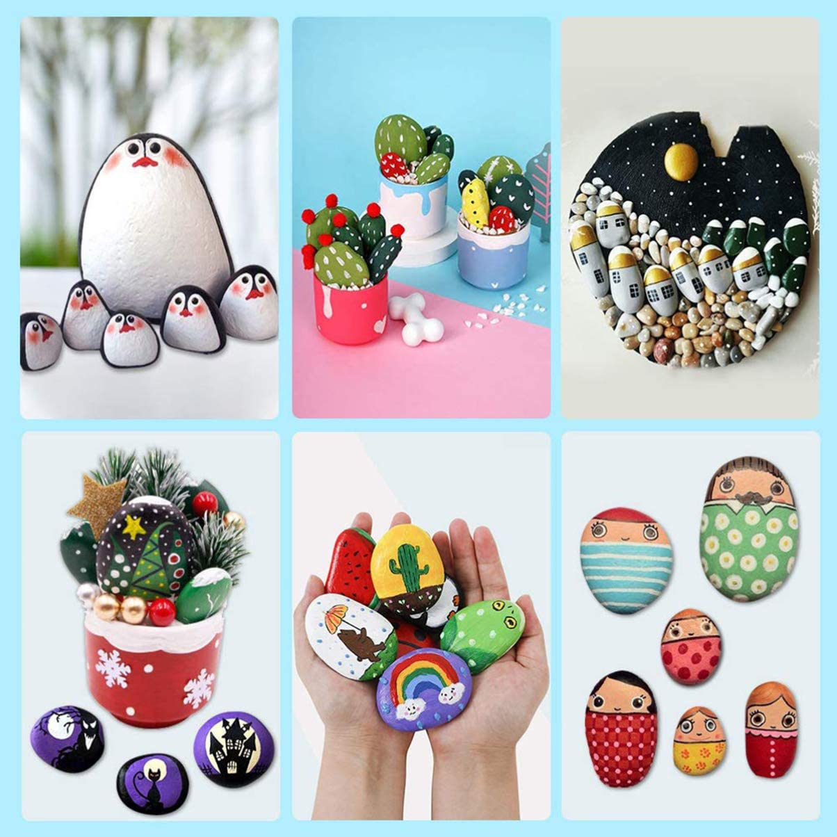 HEALLILY 10PCS Painting Rocks Smooth Stone with 1 Pc Bracket for Painting Kindness Rocks for Painting Crafts Natural Smooth Surface Rock Painting Arts 2-3cm