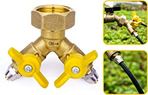 HOMENOTE 3/4'' to 1/4'' Garden Hose Splitter Adapter, 2 Way Y Valve Hose Adapter for 1/4'' Tubing, Solid Brass Connector Convert 3/4'' Female Hose Thread Bib to 1/4'' Tubing