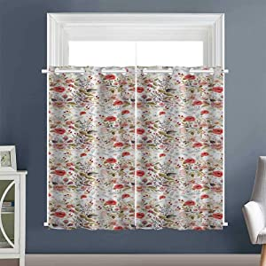 """Linhomedecor top Darkening Curtains Spring Watercolor Style Grommet Curtain Panels Two Panels Multicolor (1 Pair, 52"""" Width x 63"""" Length Each Panel)"""