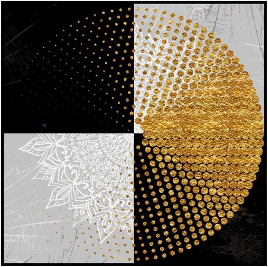 x2 Sin Marco 11.8x11.8 HSFFBHFBH Cuadro en Lienzo Cartel Moderno Cuadrados en Blanco y Negro Anillos Dorados Imagen Impresa para el hogar Arte de la Pared Decoraci/ón de la Sala de Estar 30x30cm