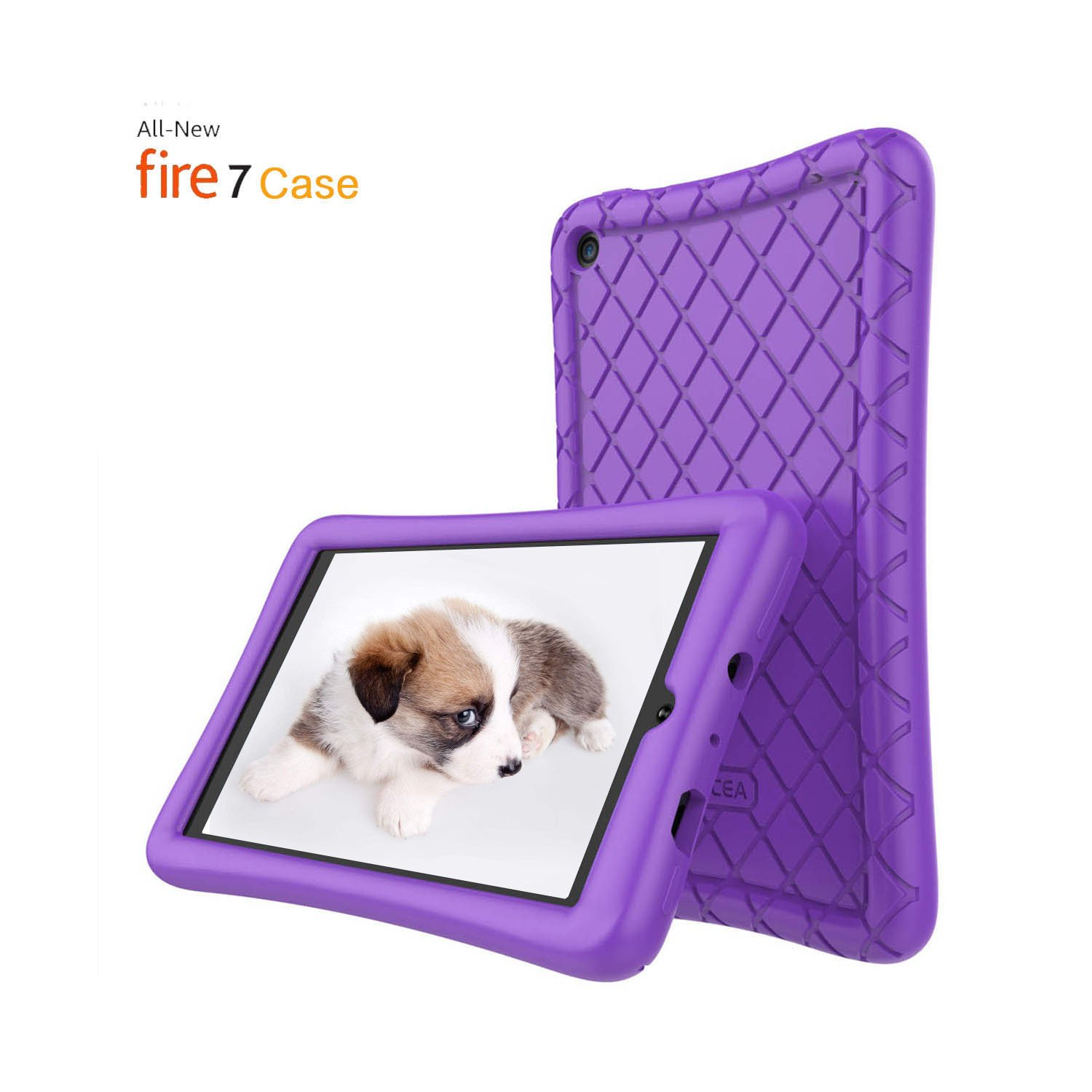 Fire 7 Tablet Case,Soft Silicone Case for All-New Amazon Fire 7 Tablet(7th Generation, 2017 Release) - [Anti Slip] Shockproof Back Cover [Kids Frienly] for Fire 7 Light Weight Purple