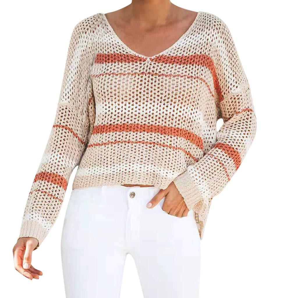 DRAGONHOO Sweatshirt for Women Casual Beach Sweater Openwork Stitching Hollow Blouse hoodie pullover by DRAGONHOO