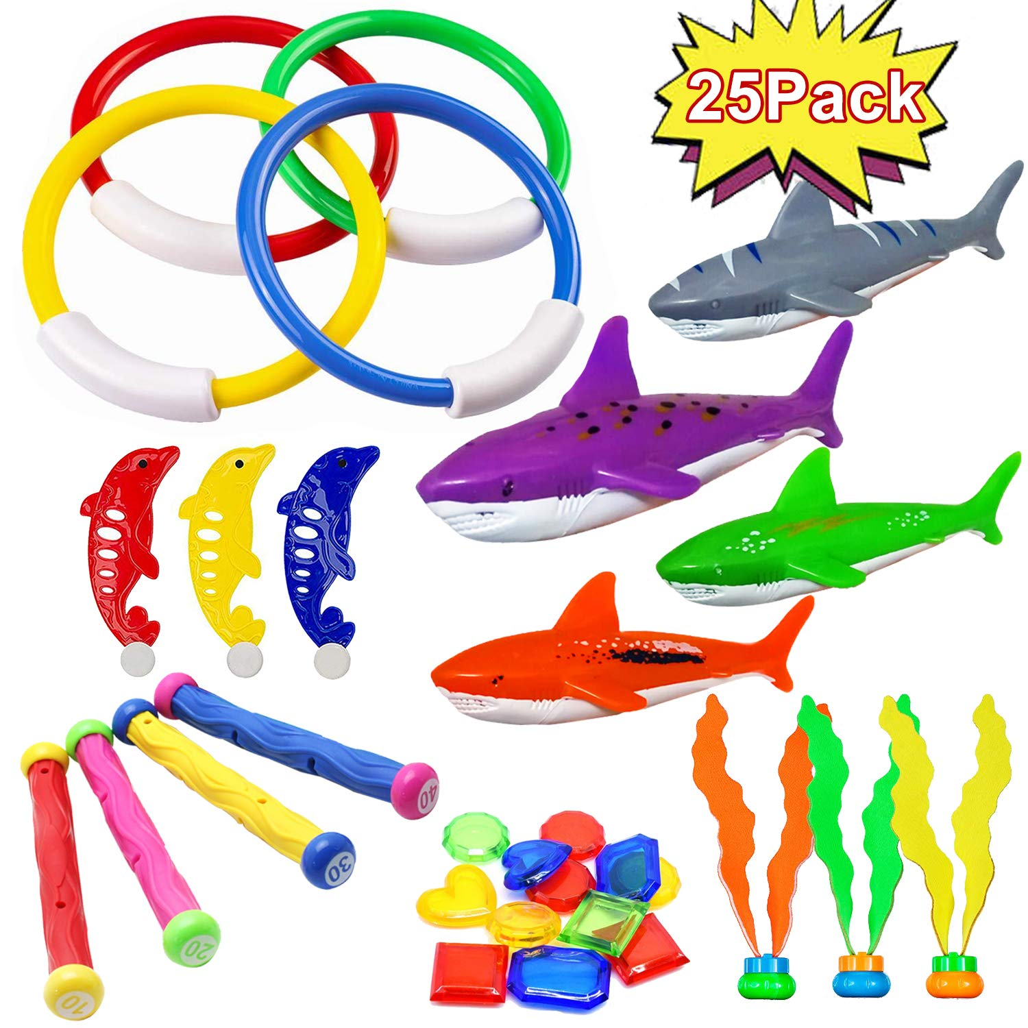 25 PCS Diving Toys for Pool Underwater Swimming Pool Dive Toys Set for Kids-4 Diving Rings 3 Diving Sticks 4 Toypedo Bandits 3 Dolphin 3 Aquatic Dive Balls 8 Treasures Under Water Games Training Gift