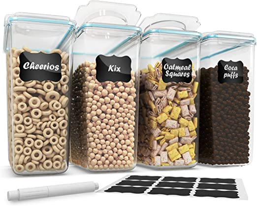 Amazon Com Cereal Container Storage Set 100 Airtight Food Storage Containers 18 Labels And Pen Great For Flour Bpa Free Dispenser Keepers 135 2oz 4pc Shazo Kitchen Dining