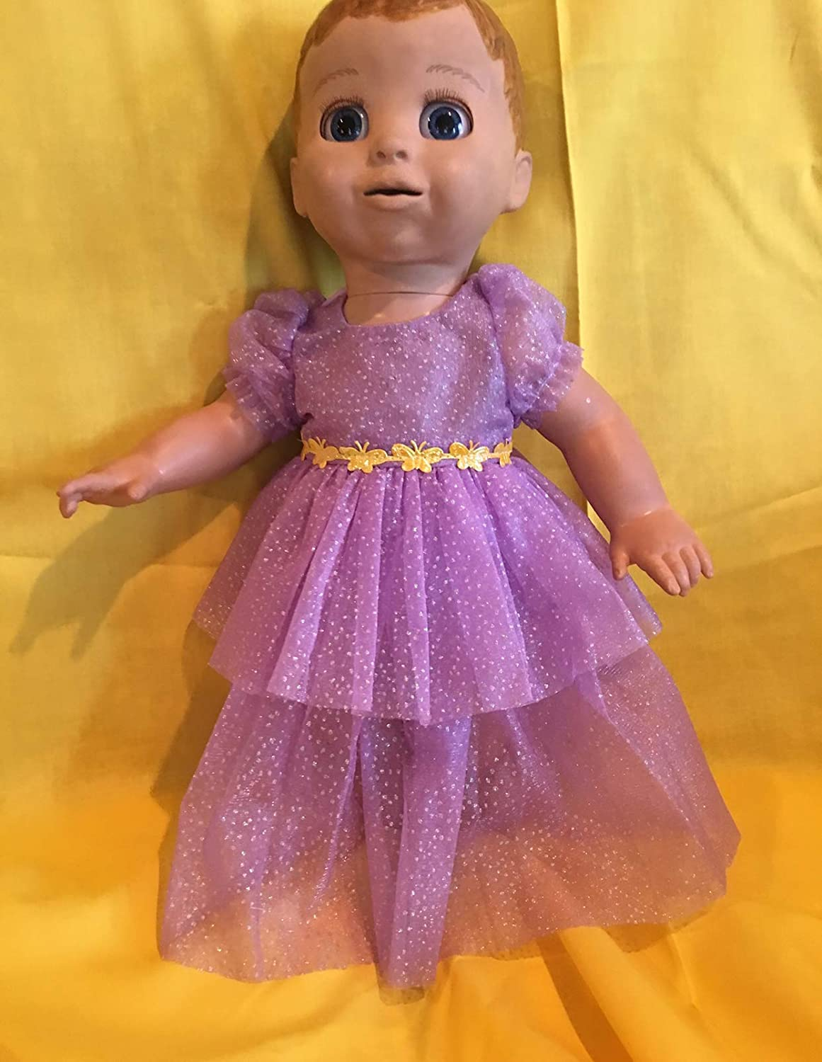 Fits Luvabella Baby Girl Doll Clothes Princess or Fairy Dress Purple Handmade Halloween Costume NO DOLL