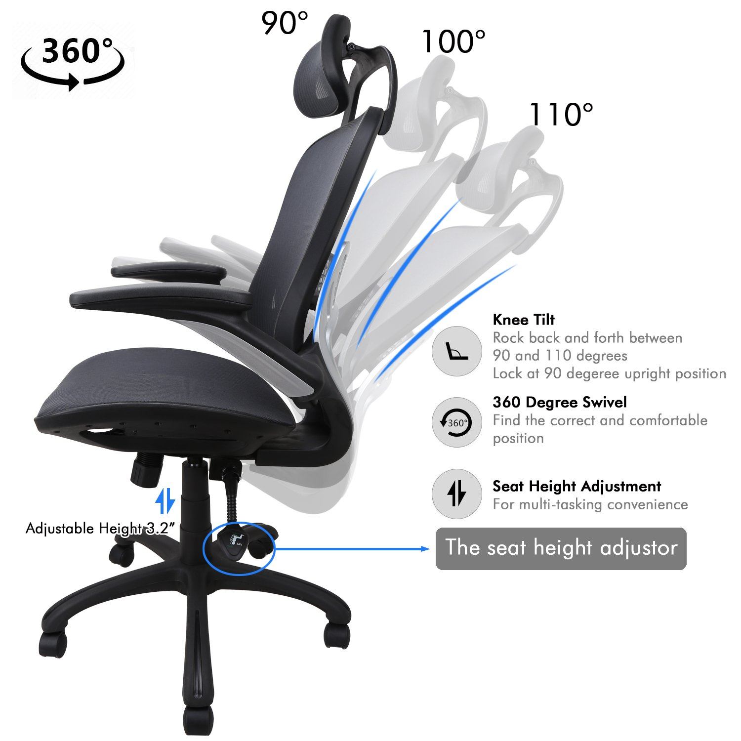 Ergonomic Office Chair: Passed BIFMA/SGS Weight Support Over 300Ibs,Breathable Mesh Cushion &High Back - Executive Chairs with Adjustable Head& Backrest,Flip-up Armrests,360-Degree Swivel Chair by Komene (Image #3)