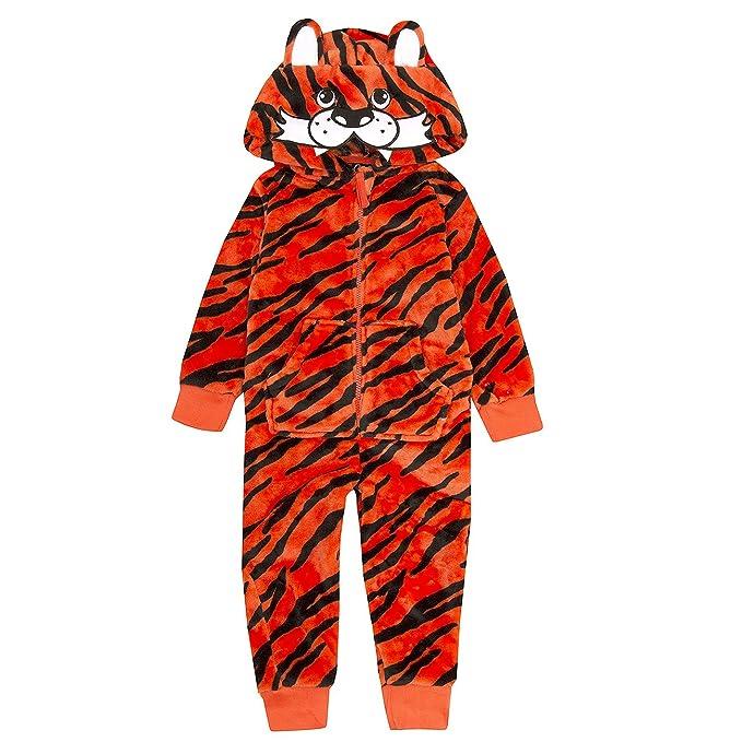 Pijama para niños de tela polar con capucha, estampado de tigre de Onezee: Amazon.es: Ropa y accesorios
