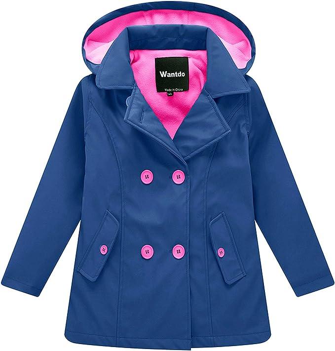 Wantdo Kids' Unisex Fleece Windbreaker Jacket Water Resistant and Windproof Coats(Navy,4-5Y)
