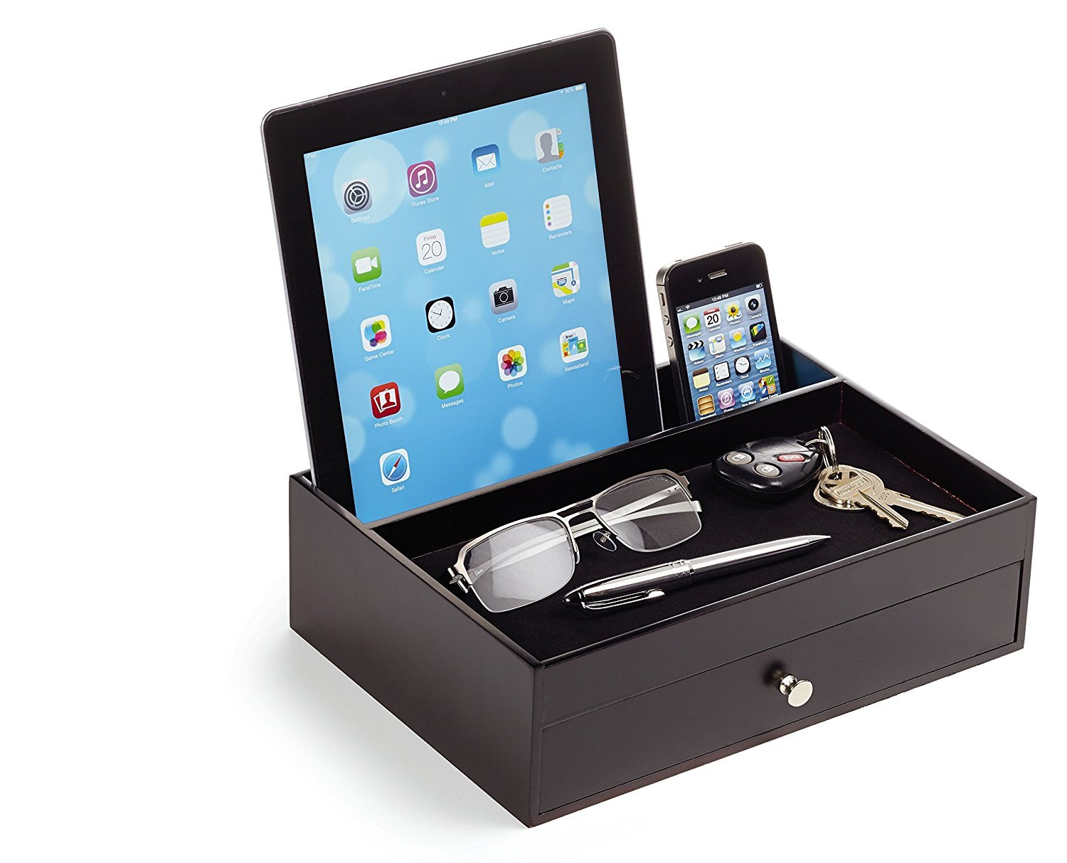 Massca Original Valet Charging Station Multi-Device Office Desk Organizer. Perfect Nightstand Organizer Great for Your Wallet, Keys, Phones and Other Electronic Devices.Perfect Gift Idea. by Massca