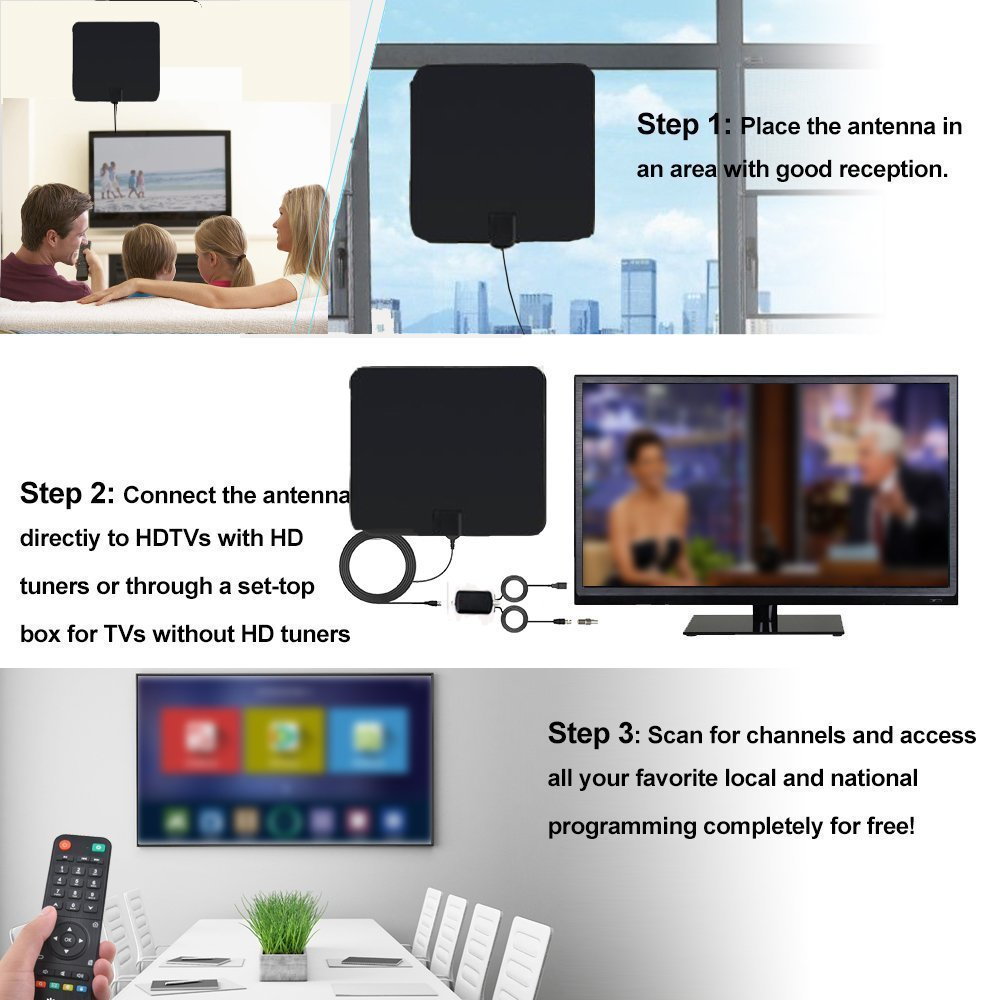 Indoor HD TV Antenna 1080P, DMYCO 60+ Mile High Definition with Signal Booster, Home Digital TV OTA Receiver, Power House DTV Amplified Air Aerial for Free Internal Local Channels with 16.5FT Cable
