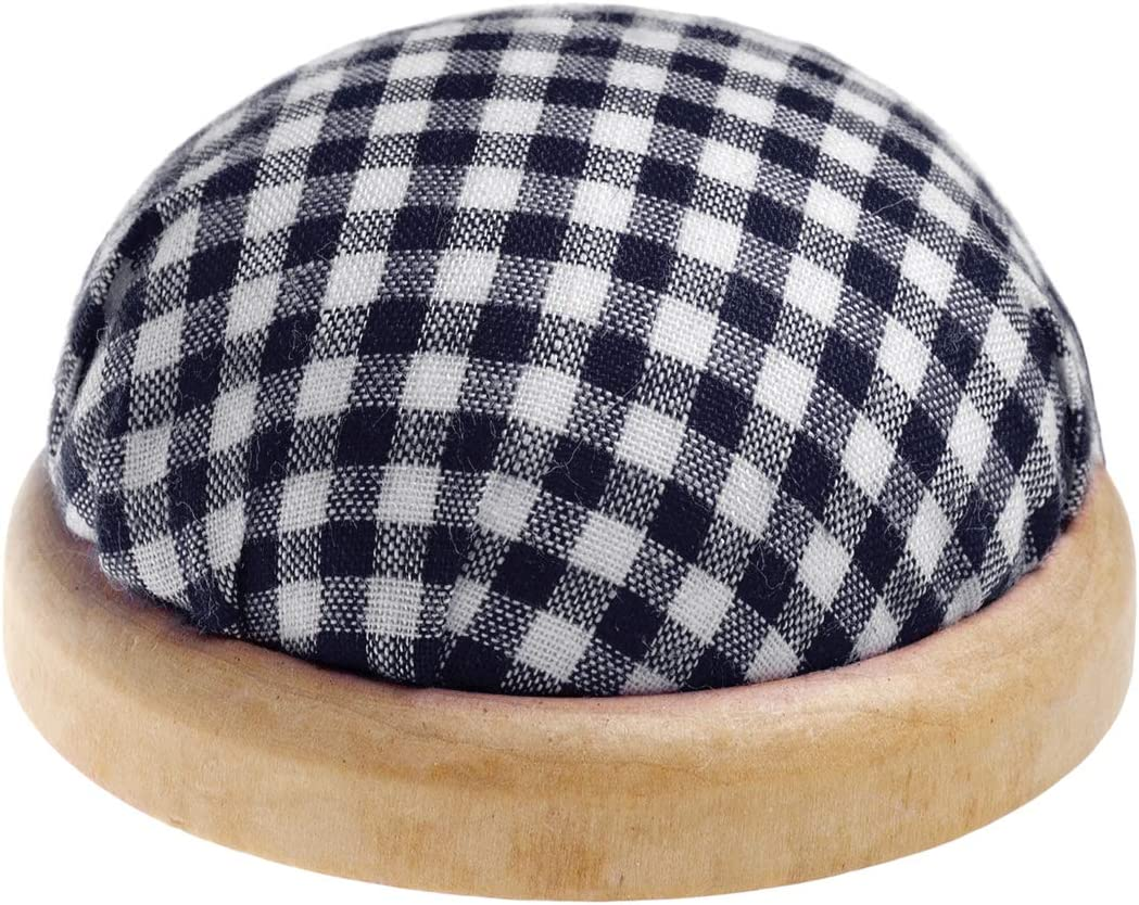 . Round table pin cushion with dark wooden border chequered pattern colour: blue and white