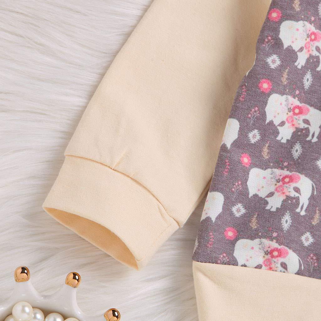 Pants WARMSHOP Newborn Boys Girls Cartoon Animal Print Hooded Sweatershirt