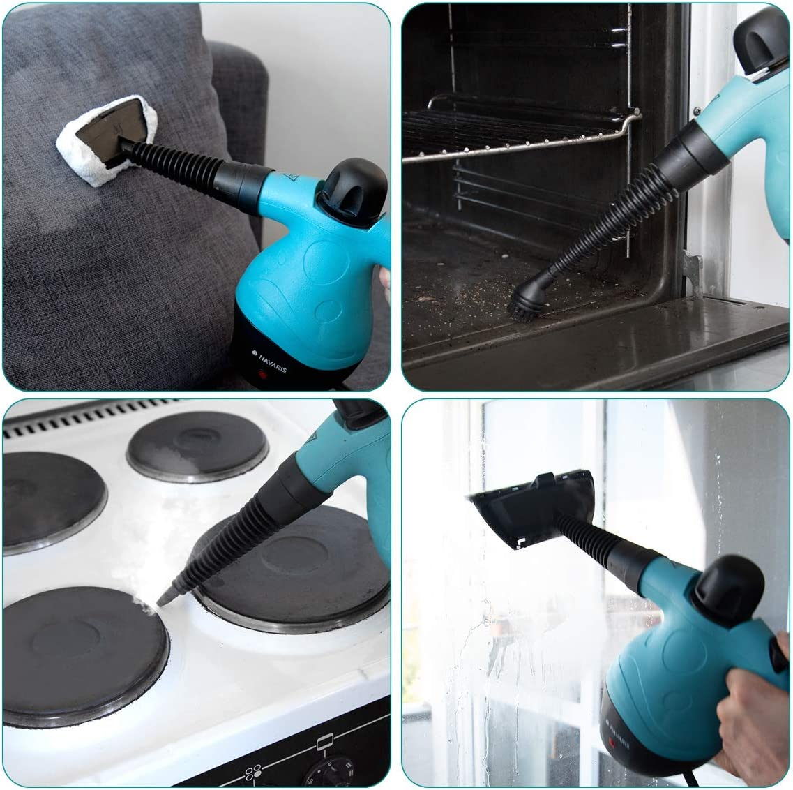Navaris Handheld Steam Cleaner Multi Purpose Cleaning Hand Held Portable High Pressure Steamer for Bathroom Tile Oven With Accessories Window