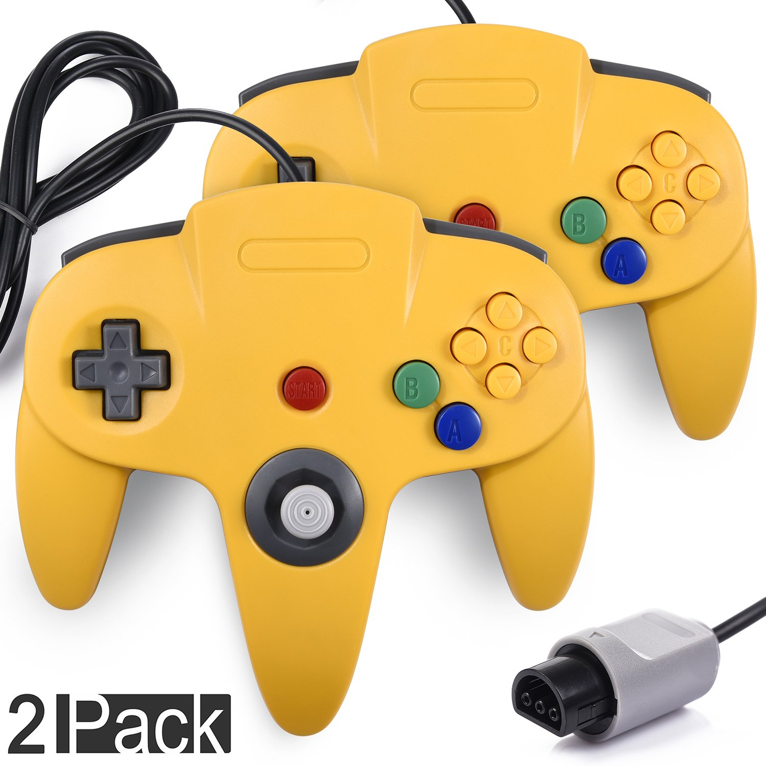 2 Pack N64 Gaming Classic Controller, miadore Retro N64 Gaming Gamepad Joystick Double Colored Joypad for N64 System Home Video Game Console by miadore (Image #1)