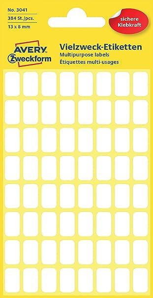 175 X Etiketten selbstklebend Aufkleber weiß 2,5 X 1,3 cm