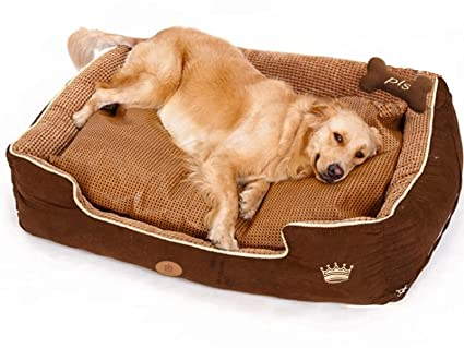 Amazon.com : PLS Birdsong Paradise Bolster Dog Bed for Large Dogs ...