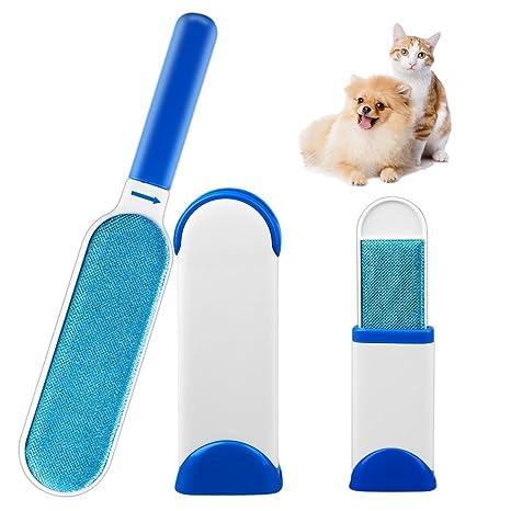 Set de cepillo quita pelos de mascotas (perros y gatos), rodillo para quitar pelos y pelusas de animales domésticos 3 en 1, con autolimpieza.