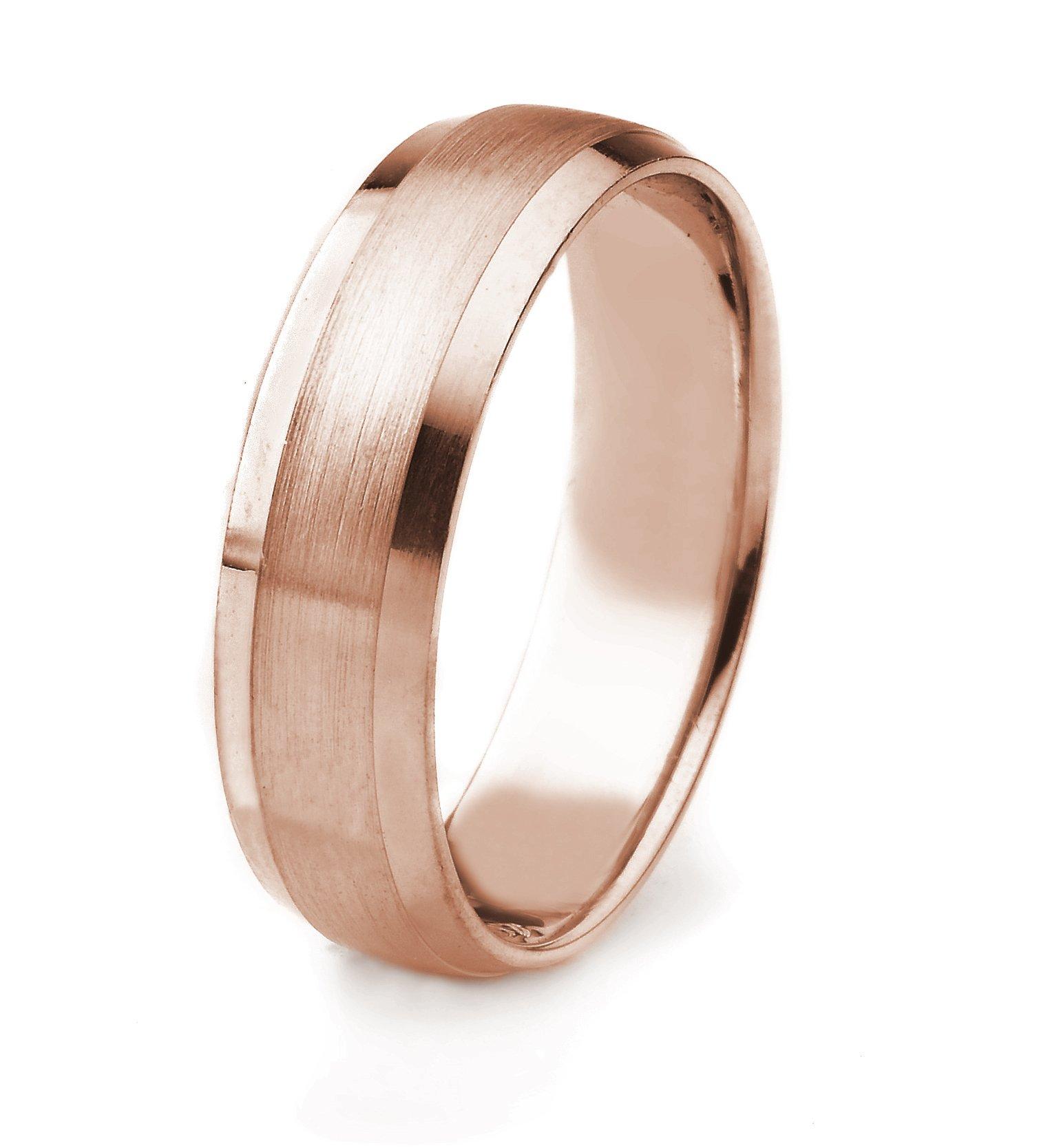 10k Gold Men's Wedding Band with Satin Finish and Polished Beveled Edges Edges (6mm)