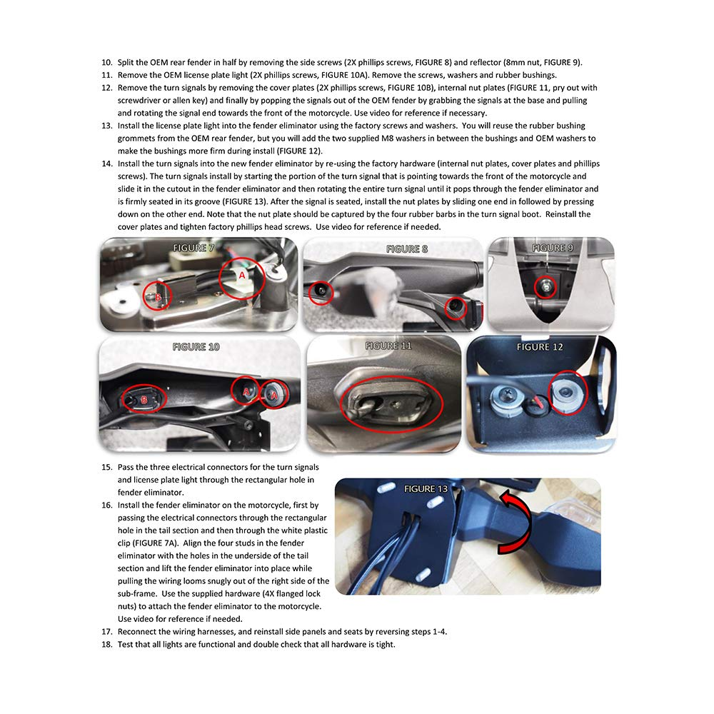 El Kit de la Placa de Registro del eliminador de Guardabarros de Motocicleta RANSOTO Apto para Kawasaki Z650 Ninja 650 (2017-2019