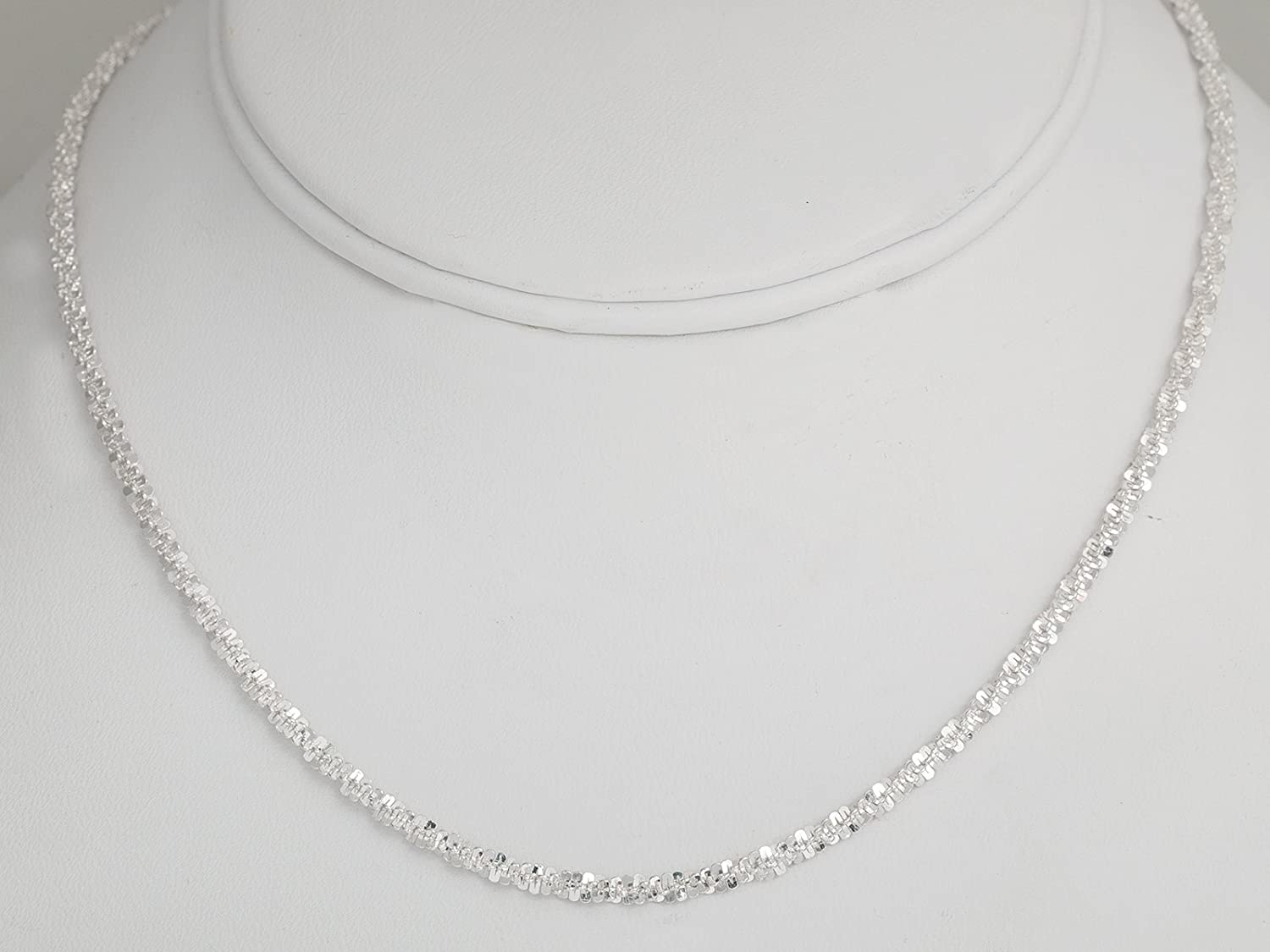0b3d9c7884ed99 Amazon.com: Pori Jewelers 925 Sterling Silver 2.5MM Twisted ROC Chain  Necklace - for Women - Made in Italy (18): Jewelry