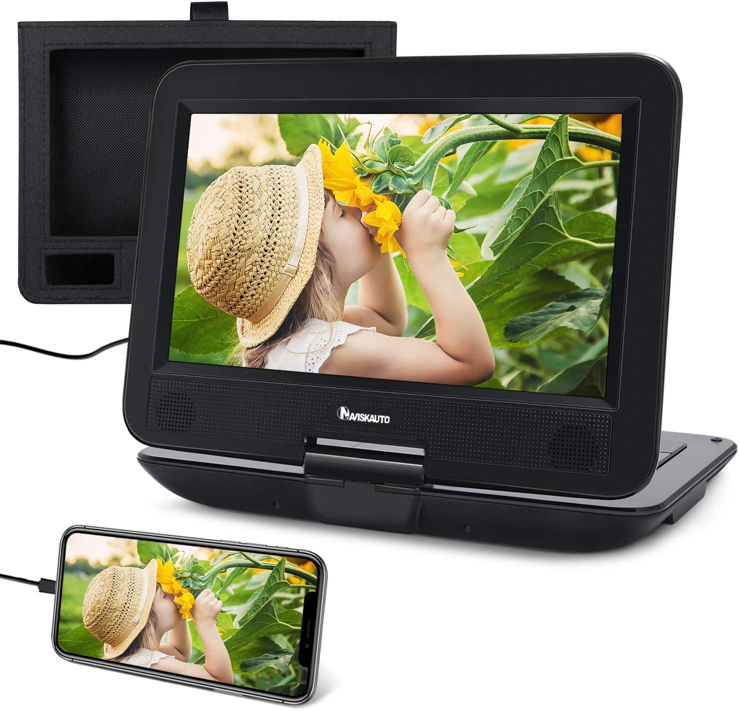 """10.1"""" DVD Portátil Coche soporta HDMI Entrada con Pantalla Giratoria, Reproductor DVD para Niño con Batería Recargable, soporta USB/DVD/CD Región Libre con Mando a Distancia - NAVISKAUTO"""