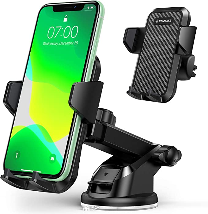 VANMASS Universal Car Phone Mount,【Patent & Safety Certs】Upgraded Handsfree Stand, Dash Windshield Air Vent Phone Holder for Ca