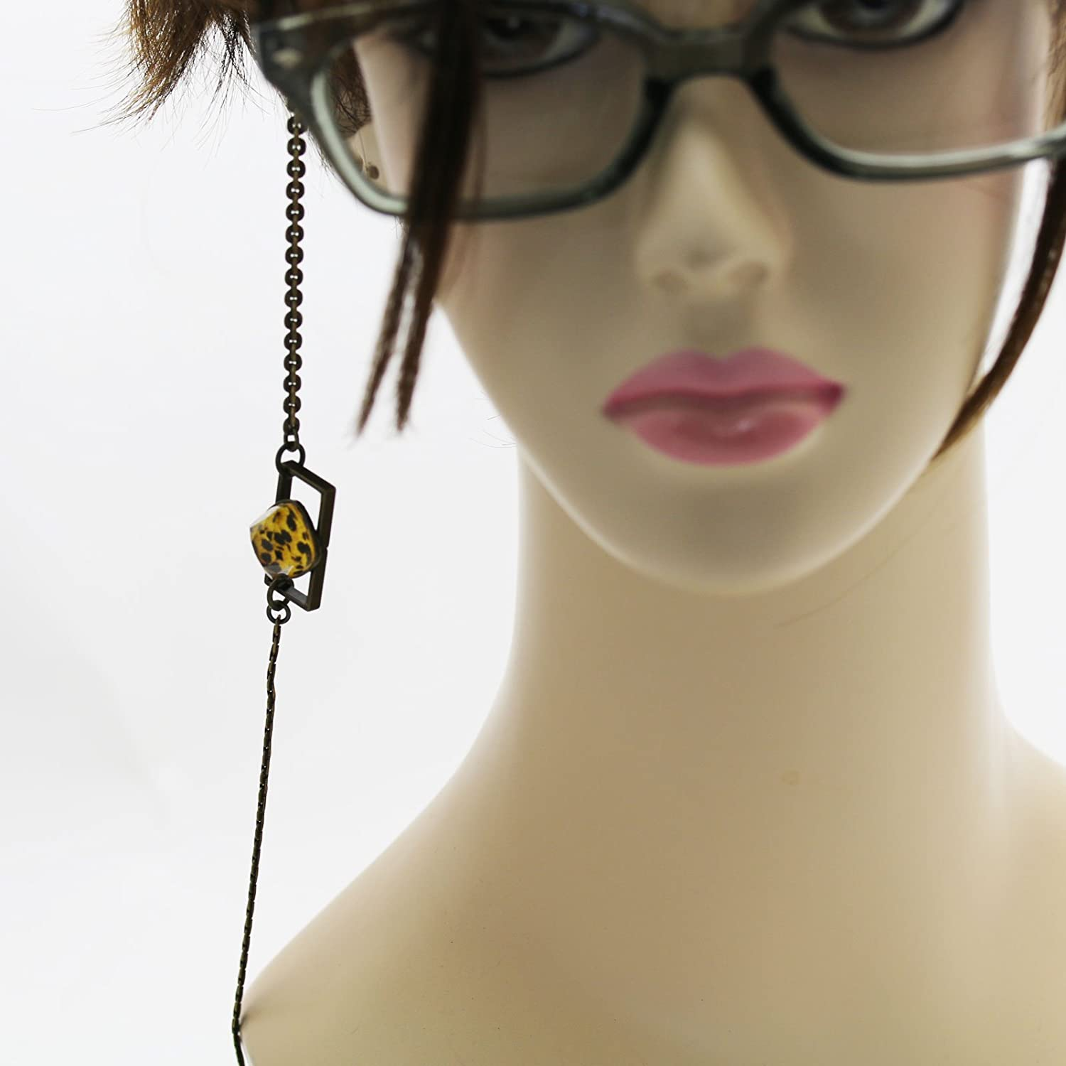 Tamarusan Eyeglasses Chain Cheetah Yellow Black Unisex Simple Animal