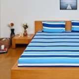 Solimo Silk Finish Nautical Stripe 180 TC 100% Cotton Double Bedsheet with 2  Pillow Covers - Blue