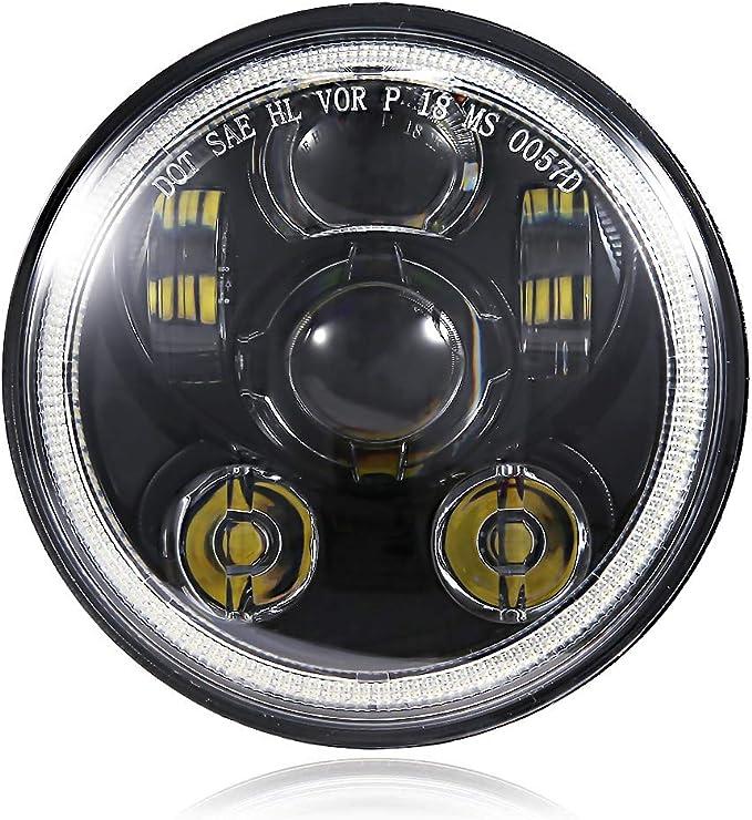 Wisamic 5-3//4 5.75 inch LED Headlight Compatible with Harley Davidson Dyna Street Bob Super Wide Glide Low Rider Night Rod Train Softail Deuce Custom Sportster Iron 883-Black