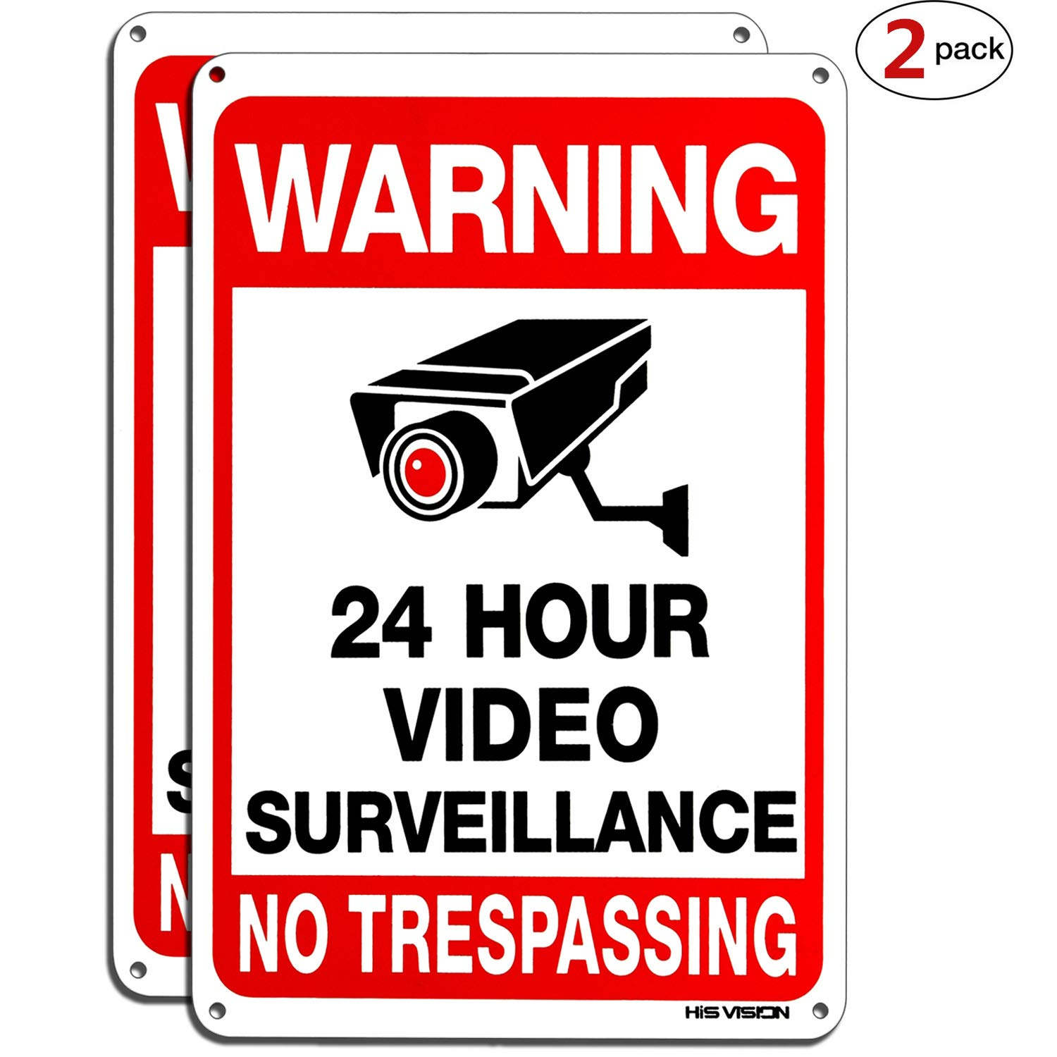 "HISVISION Video Surveillance Sign 2-Pack, No Trespassing Metal Reflective Warning Sign,UV Protected & Waterproof, 10""x 7"" 0.40 Aluminum Indoor Or Outdoor Use for Home Business CCTV Security Camera"