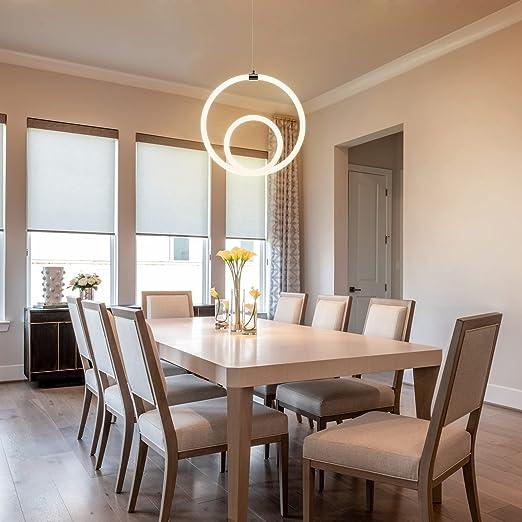 Baiston Modern LED Pendant Light, 19.7'' Chic Irregular Ring Modern Chandelier Adjustable Contemporary Chandelier for Dining Room Bedroom Living Room, 24W 3000K Warm White, Chrome