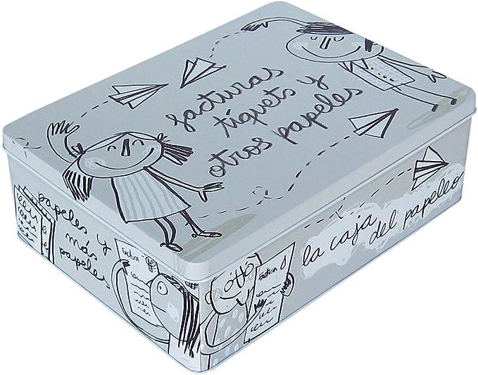 Laroom Caja metálica, Metal, Gris: Amazon.es: Hogar