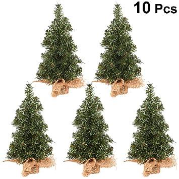 Amosfun 10 Piezas Mini árbol de Navidad Artificial con Base de ...