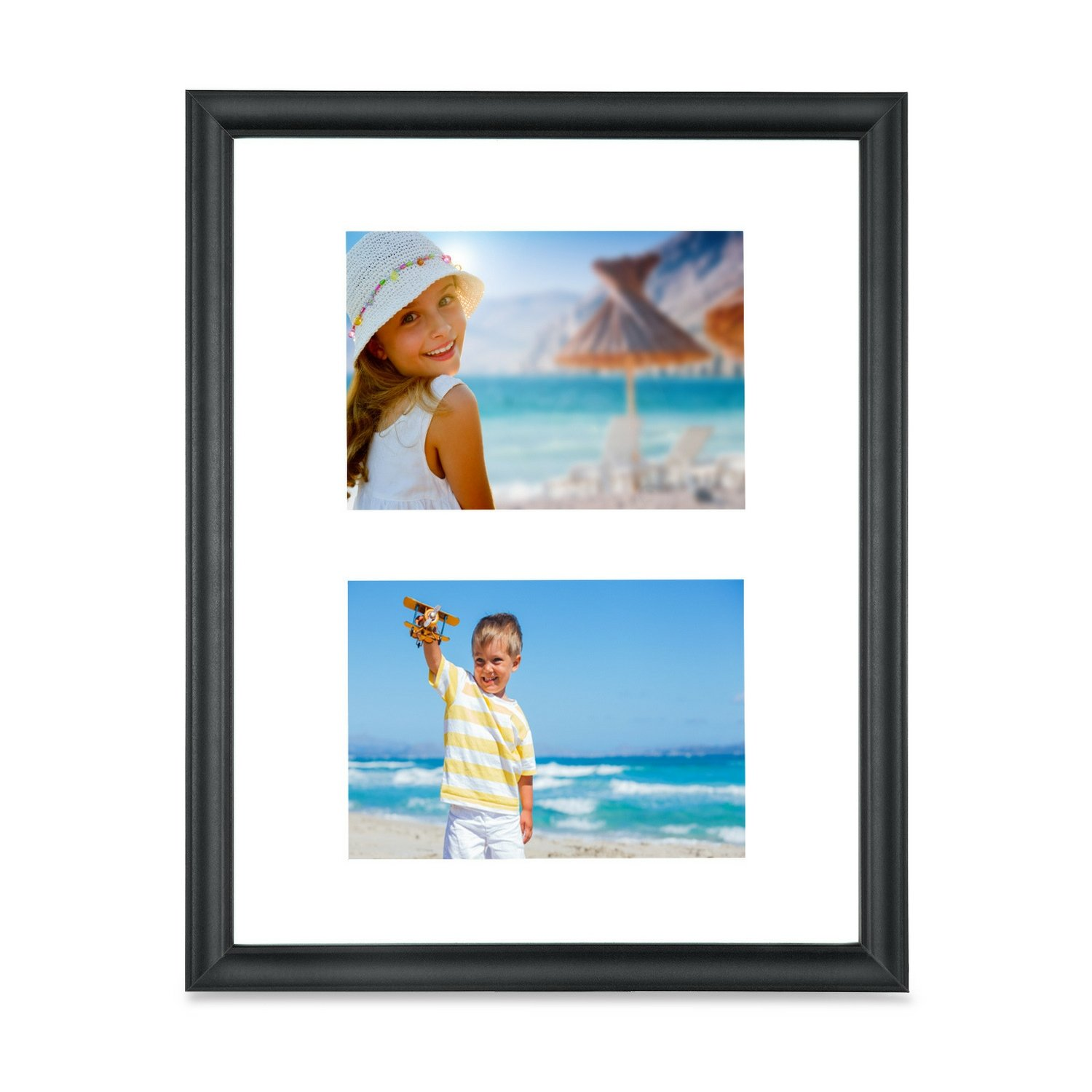 Icona Bay 8x16 Collage Picture Frames With Mat Displays Three 4x6 Photos, Rustic Brown Wooden Finish Frame, Photo Collage Frames for Wall or Table, Mat Photo Frames 4 x 6 Included, Lakeland Collection