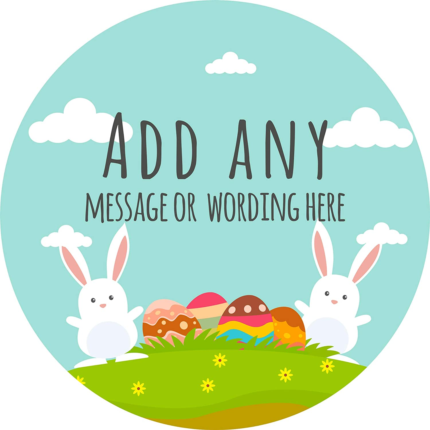 Personalised Custom Seals Ideal for Party Bags Sweet Cones Favours Jars Presentations Gift Boxes Bottles Crafts 6 Stickers, 9.5cm Each Happy Easter Bunnies with Eggs Sticker Labels