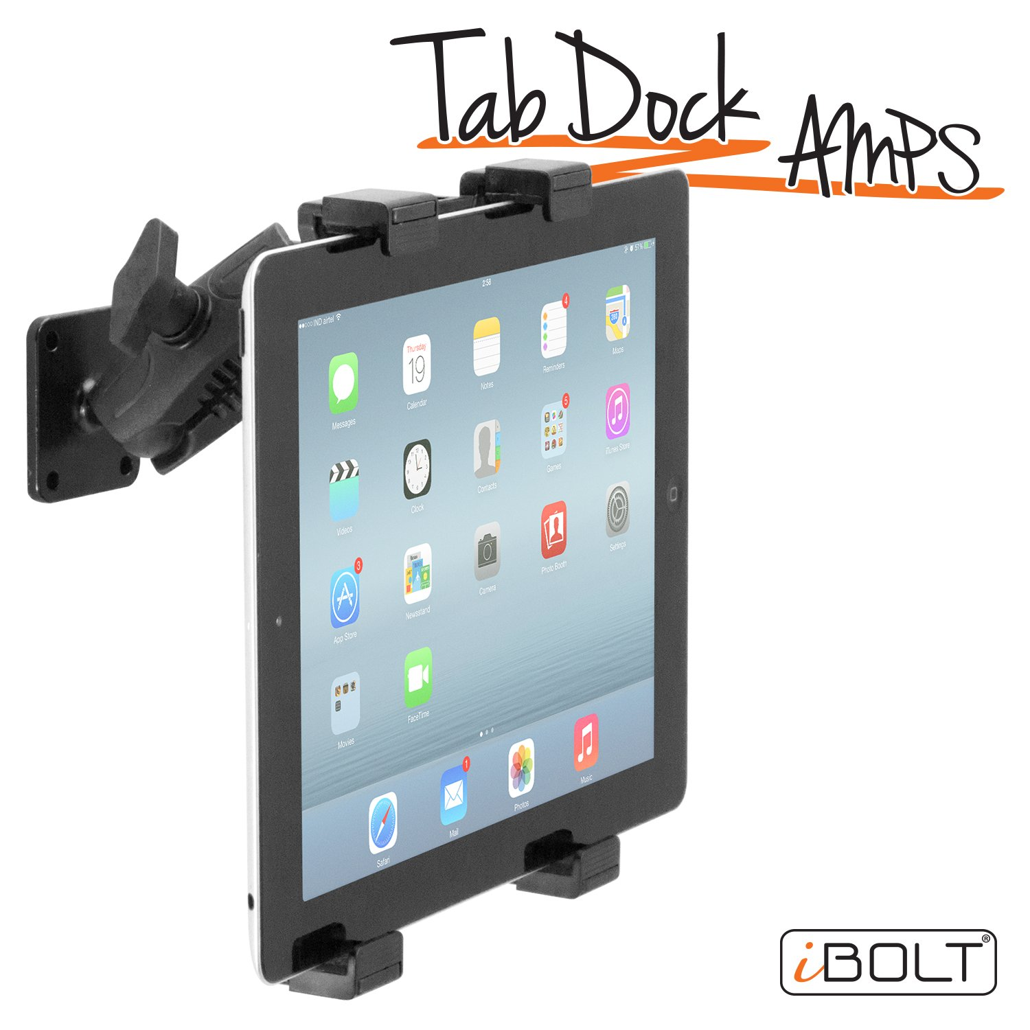 """iBOLT TabDock AMPs - Heavy Duty Drill Base Mount for All 7"""" - 10"""" Tablets (iPad, Samsung Tab) for Cars, Desks, Countertops: Great for Commercial Vehicles, Trucks, Homes, Schools, and Businesses"""