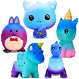 Large Squishies Toy Gifts 5 Pcs, Including Cat, Rabbit, Elf, Unicorn, Dinosaur, Starry Blue Giant Squeeze Kawaii Toy, Creamy