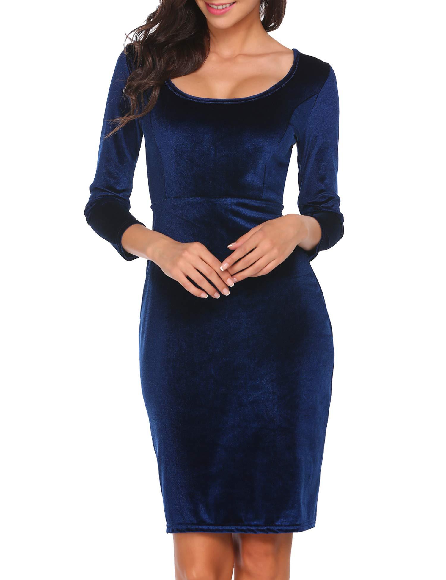 23f3df0e781 ACEVOG Women s Velvet 3 4 Sleeve Bodycon Pencil Vintage Dress Navy Blue