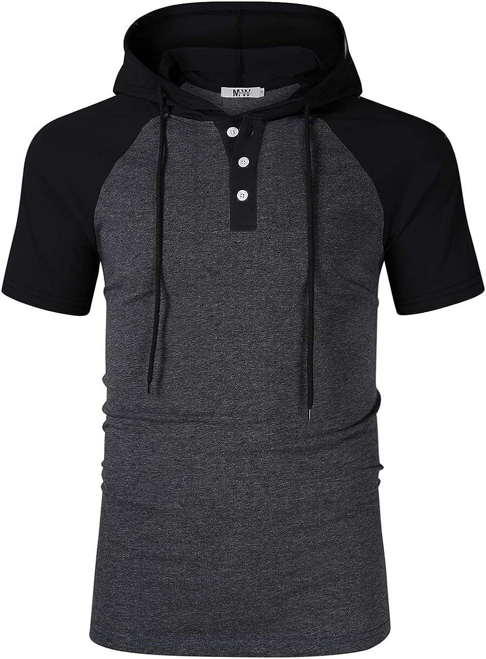 KUULEE Mens Slim Fit Hoodie Casual Hooded T-Shirt Henley Shirt for Men