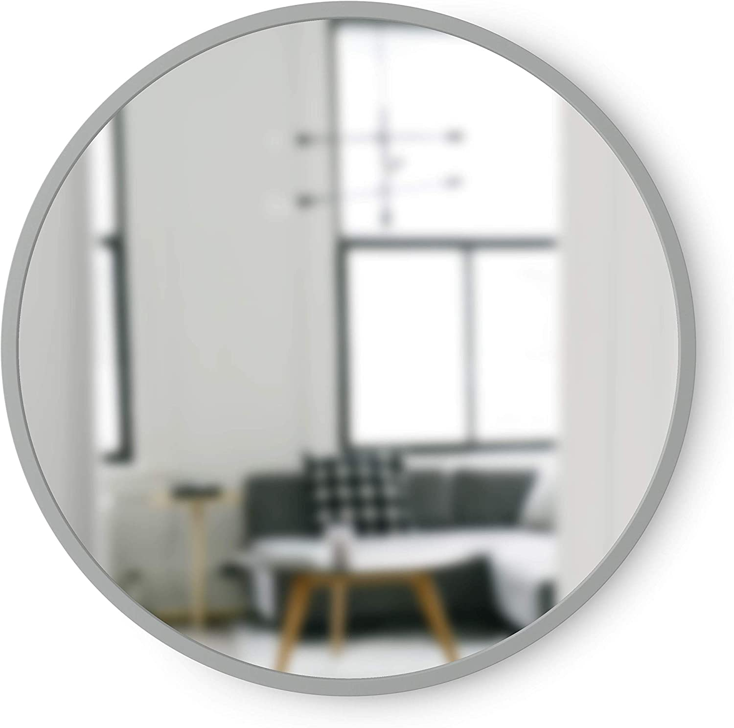 Umbra, Grey Hub Rubber Frame-18-Inch Round Mirror for Entryways, Bathrooms, Living Rooms and More, Doubles as Modern Wall Art, 18-Inch