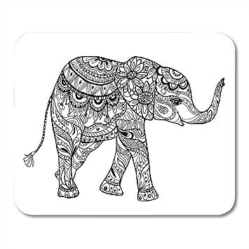 Mouse Pads Animal Black Draw en Libro para Colorear Elephant ...