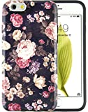 "iPhone 6S Case, Dimaka Floral Pattern Prime Cute Floral Inked Pattern Hybrid 2 in 1 Protective Candy Shell with Safe Rubber and Glitter Girly Hardcover for iPhone 6/6S 4.7"" - Peony Flower [Shiny]"