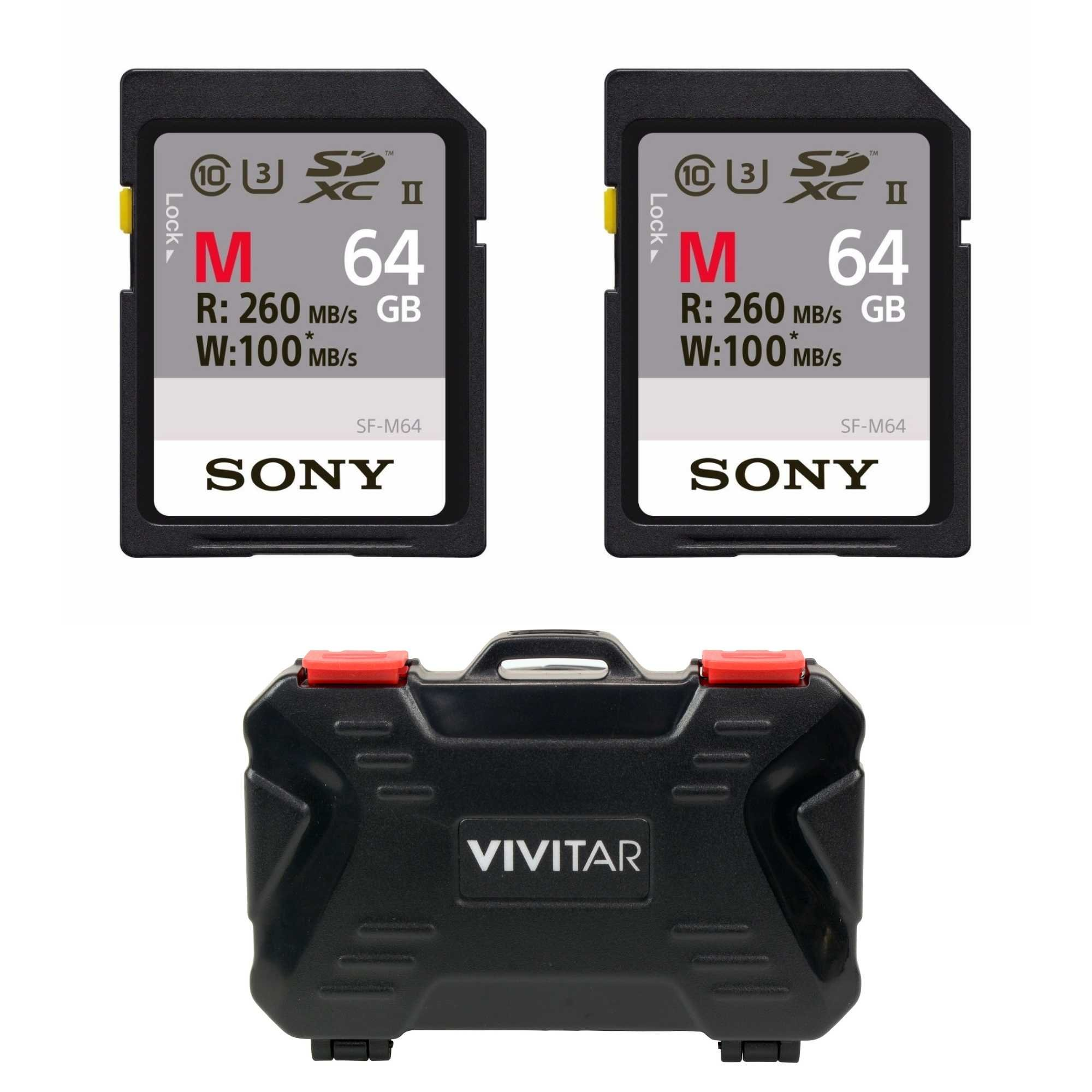 Sony 64GB M Series UHS-II SDXC Memory Card (U3) 2-Pack with Versatile Memory Card Holder by Sony