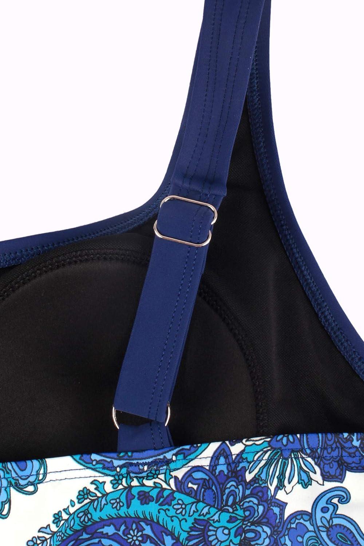 JINXUEER Womens Plus Size Swimsuit Floral Tankini Top Vintage Swimwear