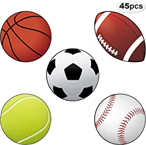 45 Pieces Sports Cutouts Sports Party Decorations Versatile Classroom Decoration Sports Balls Paper Cut-Outs with Glue Point Dots for Sports Themed Party School Birthday Party Decor, 5.9 x 5.9 Inch