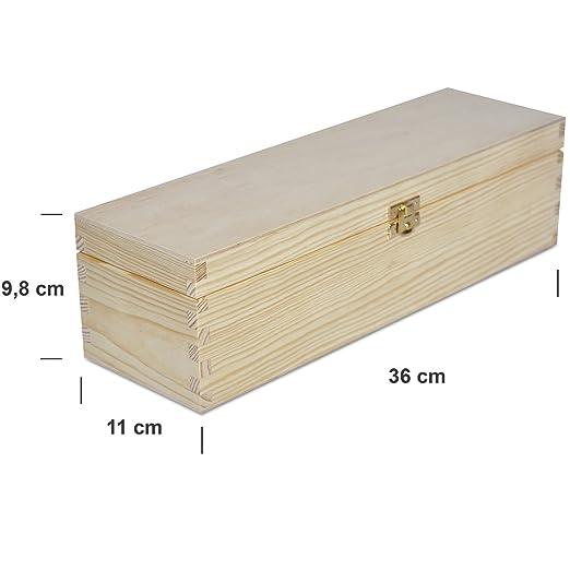 Creative Deco Caja Madera Vino para Decorar | 1 Botella | 35,1 x 11 x 9,8 cm | Perfecta para Regalo Decoupage Almacenamiento Decoración Manualidades: ...